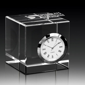 Crystal Cube with Clock