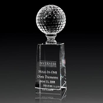 Optical Crystal Golf Pedestal Award Large