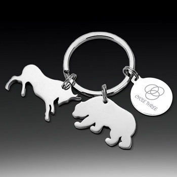 Bull and Bear Keytag with Pouch